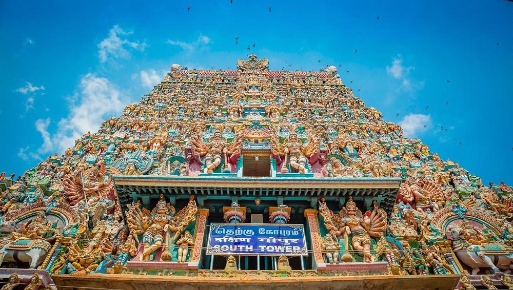 Brixel Architecture Madurai Tamil Nadu India Meenakshi Temple Dravidian Gopuram Cultural City Heritage Ancient