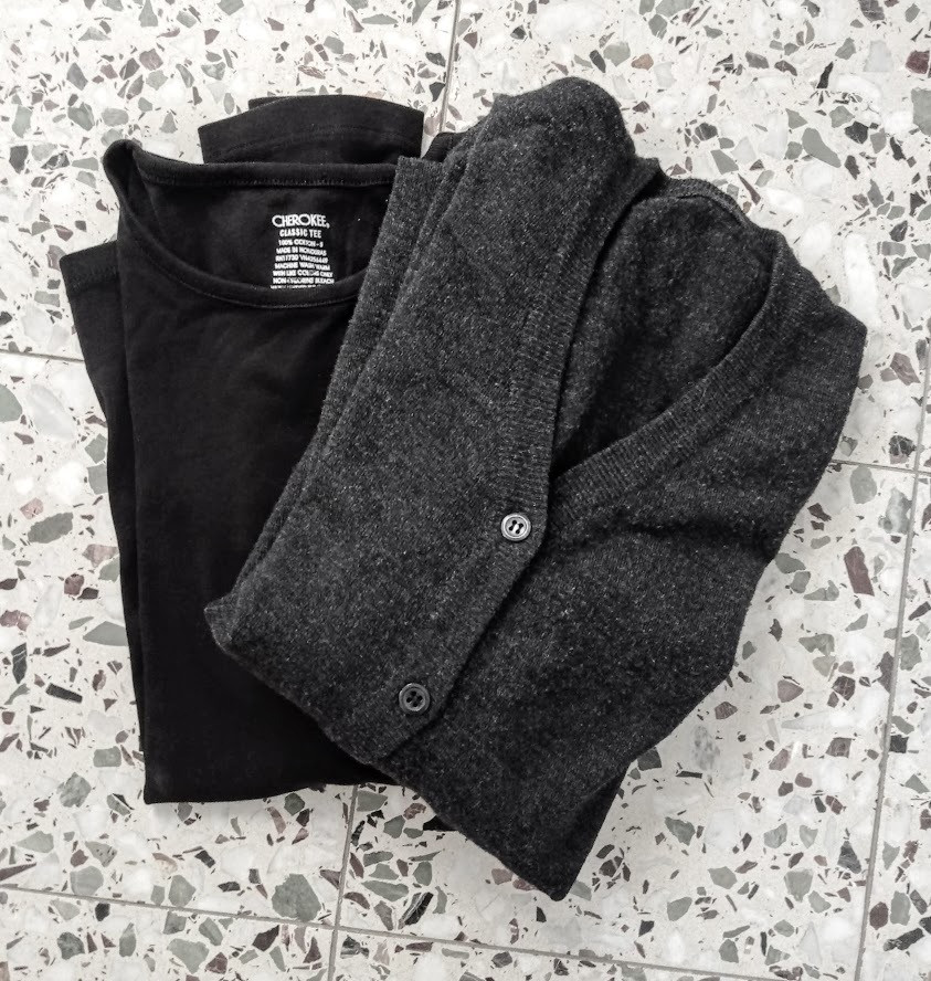 Black shirt with grey cardigan