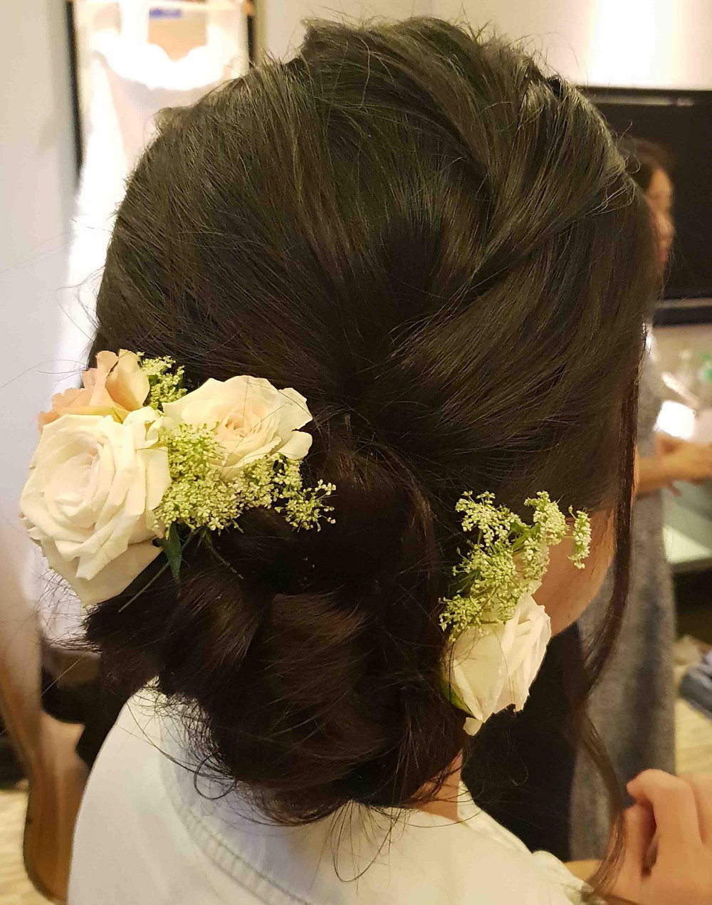 Jolene Actual Day Wedding Floral Hairstyle By Makeup Doyennes