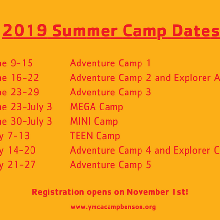 Summer Camp Registration opens on November 1st