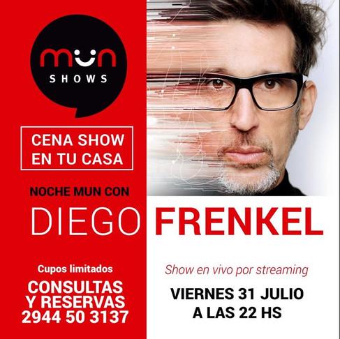 Cena y Show virtual con Diego Frenkel organizado por Mun Eventos Bariloche