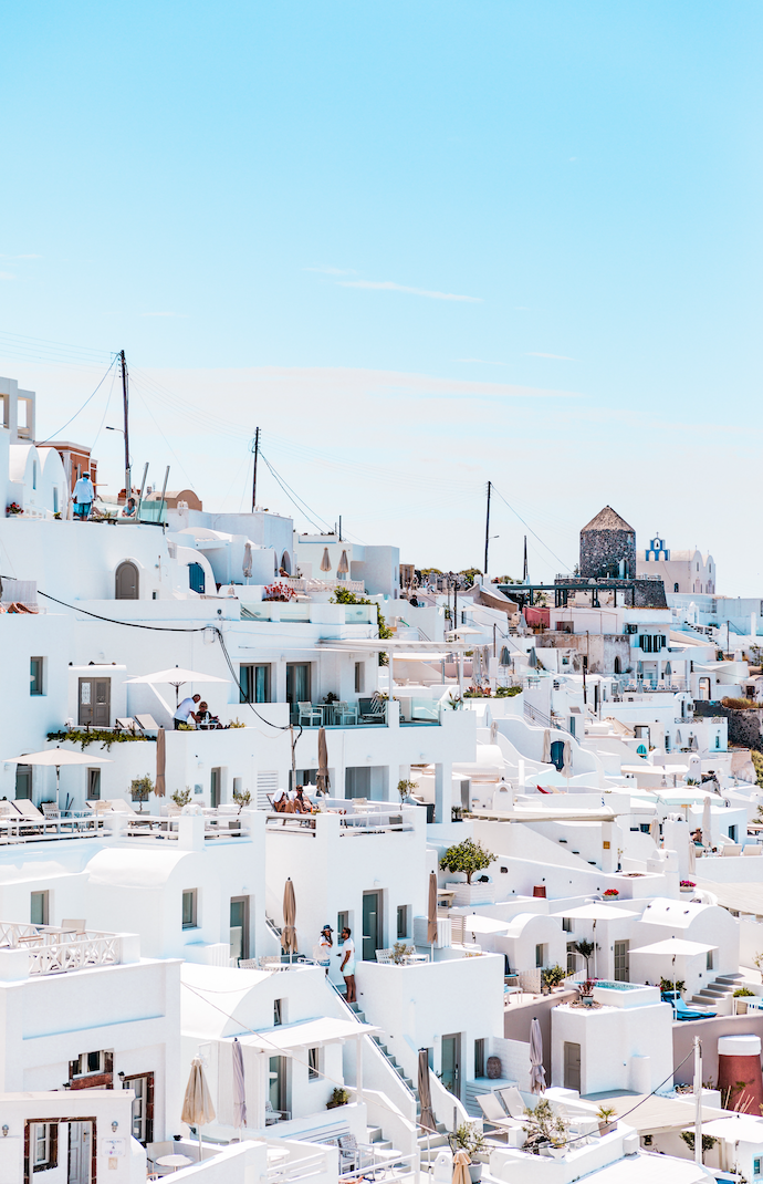 santorini white houses on the rocks