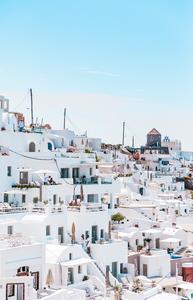 santorini white houses on the rocks