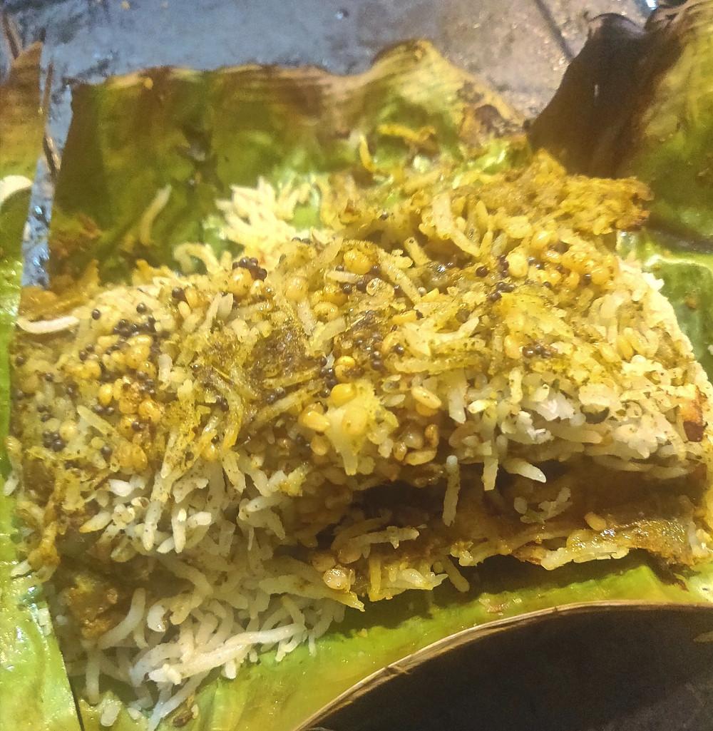 Tamarind & Curry Leaf Rice, baked in Banana Leaves by Nutritionist, Khushboo Jain Tibrewala, Mumbai
