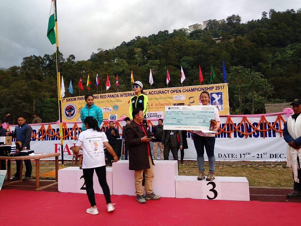 Rinzing Bhutia Ranks 3rd at the 1st Sikkim Paragliding Red Panda International Accuracy Open Championship 2017
