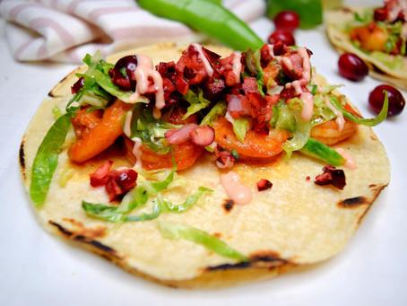 Cranberry Glazed Shrimp Tacos with Cranberry Salsa and Cranberry-Chipotle Cream