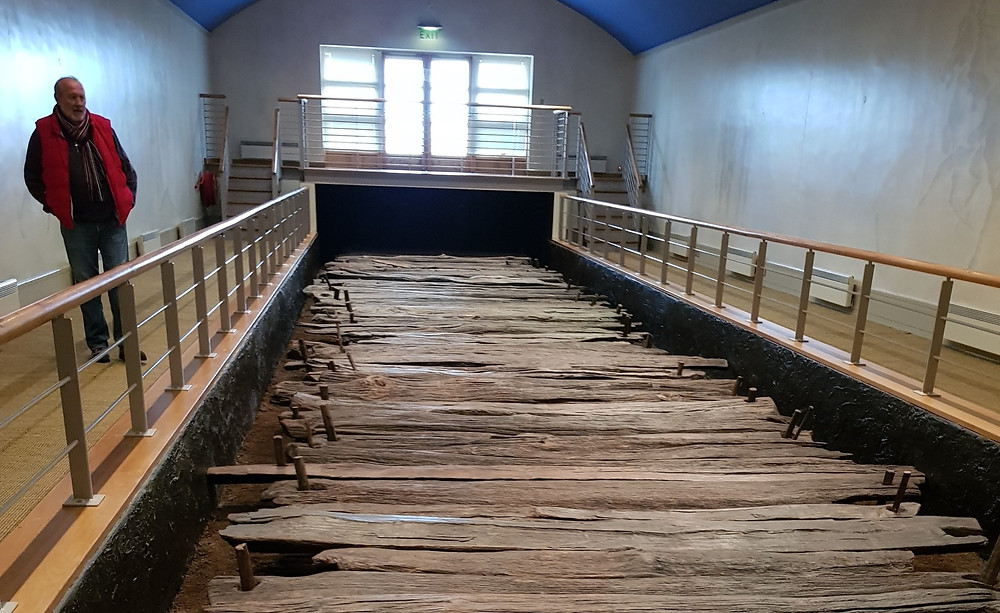 The ancient oak planks of the great Corlea Trackway.