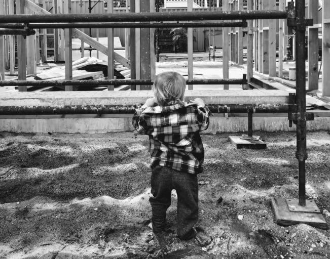 Rob's son Finn checking up on the house he's building