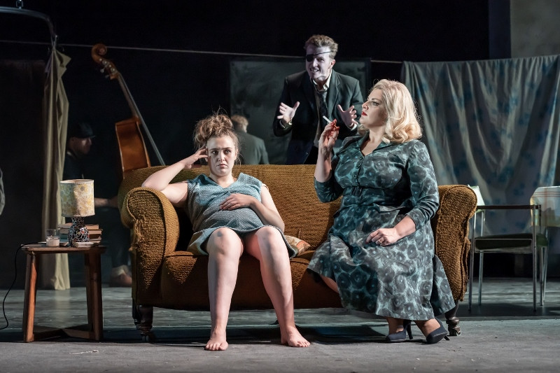 Gemma Dobson (Jo), Tom Varey (Peter) and Jodie Prenger (Helen) in A Taste of Honey credit Marc Brenner