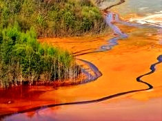 Dyeing discharge in a river