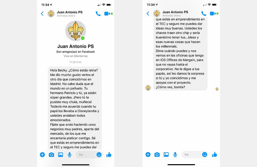 Conversación en Messenger de Facebook.