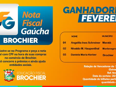 Ganhadores da NFG Brochier - Fevereiro 2020