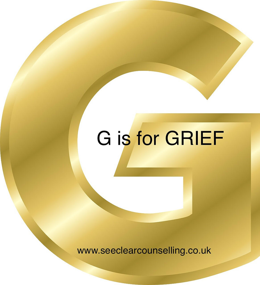 Gold letter G G is for grief