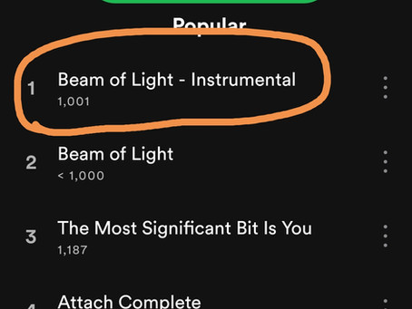 Beam Of Light (Instrumental) just went over 1k streams on Spotify!