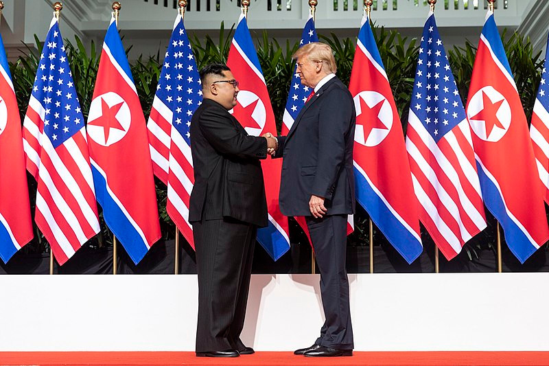 Donald Trump and Kim Jong Un meet at their historic summit in Singapore, June 2018
