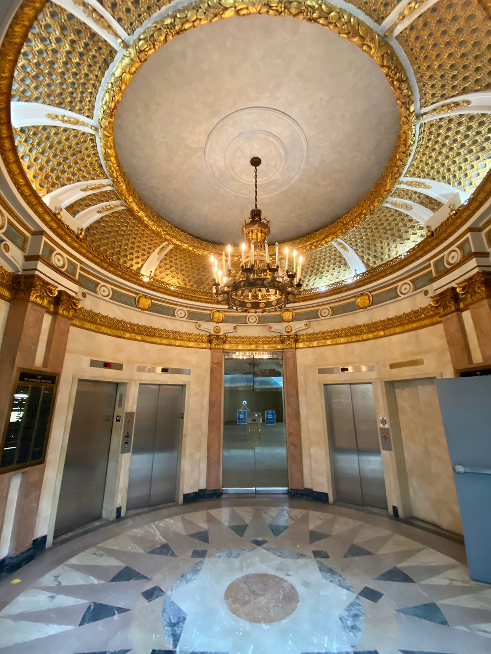 Image of lobby entrance at 321 St. Charles Avenue, thought to be original to the building's construction in 1920