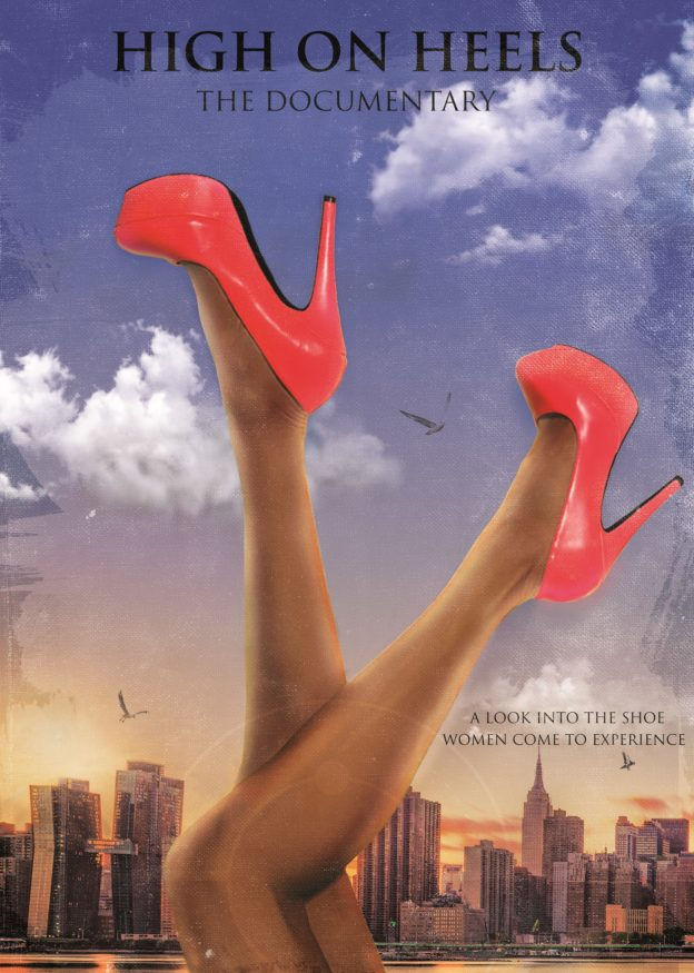 An illustrated poster depicting a pair of legs wearing bright red heels pointing upwards against a backdrop of New York City