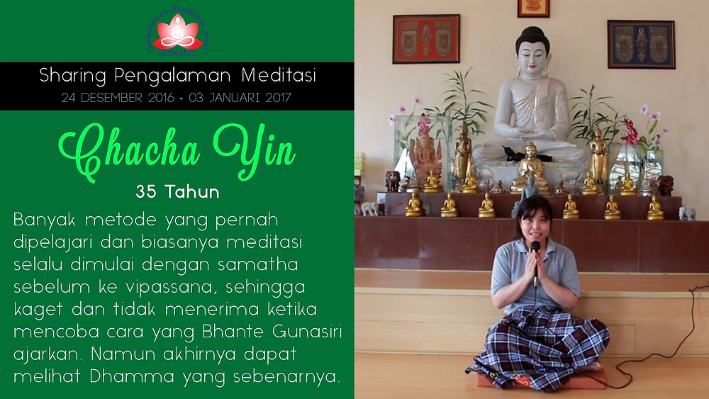 Ehipassiko dengan Meditasi - Sharing oleh CHACHA YIN