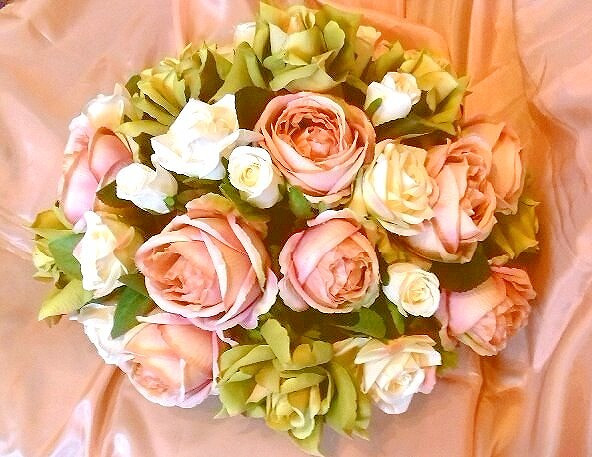 PC Creations Leeds Round Wedding Centrepiece of large ivory roses and pink peonies (Faux Flowers Collection)