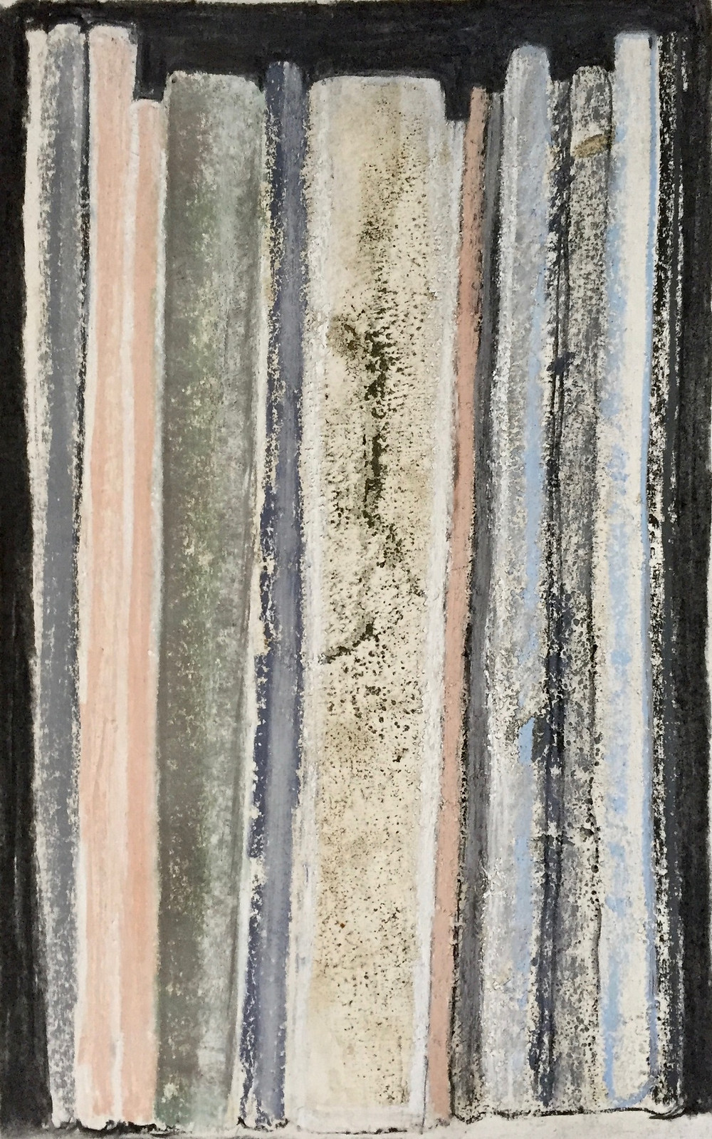 A vertiacl. rectangular image showing a series of vertical, rectangular shapes suggesting a set of upright books. The image features some interesting grainy textures as well as velvety black elements that have been made using charcoal. Other colours include greys, pink, umber and variations of grey-green.