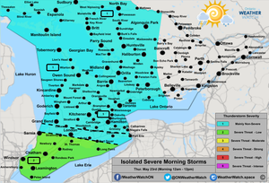 Thunderstorm Forecast, for Southern Ontario. Issued May 22nd, 2019.