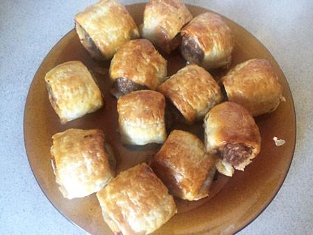 Homemade sausage rolls.