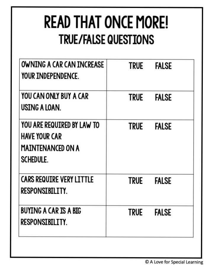 5 true false questions about buying a car