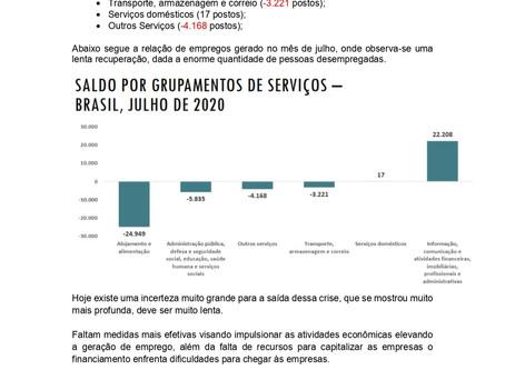Nota Econômica Semanal: Geração de empregos no Setor de Serviços volta a ser positivo em Agosto