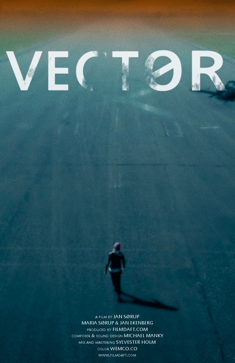 Vector film poster showing a lone woman walking along a deserted road