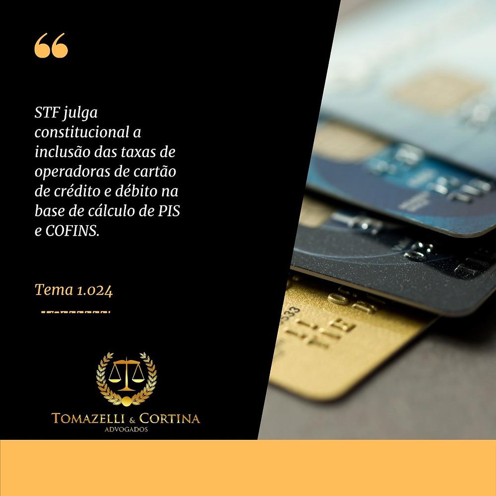 taxa cartão de crédito e débito base de cálculo pis e cofins