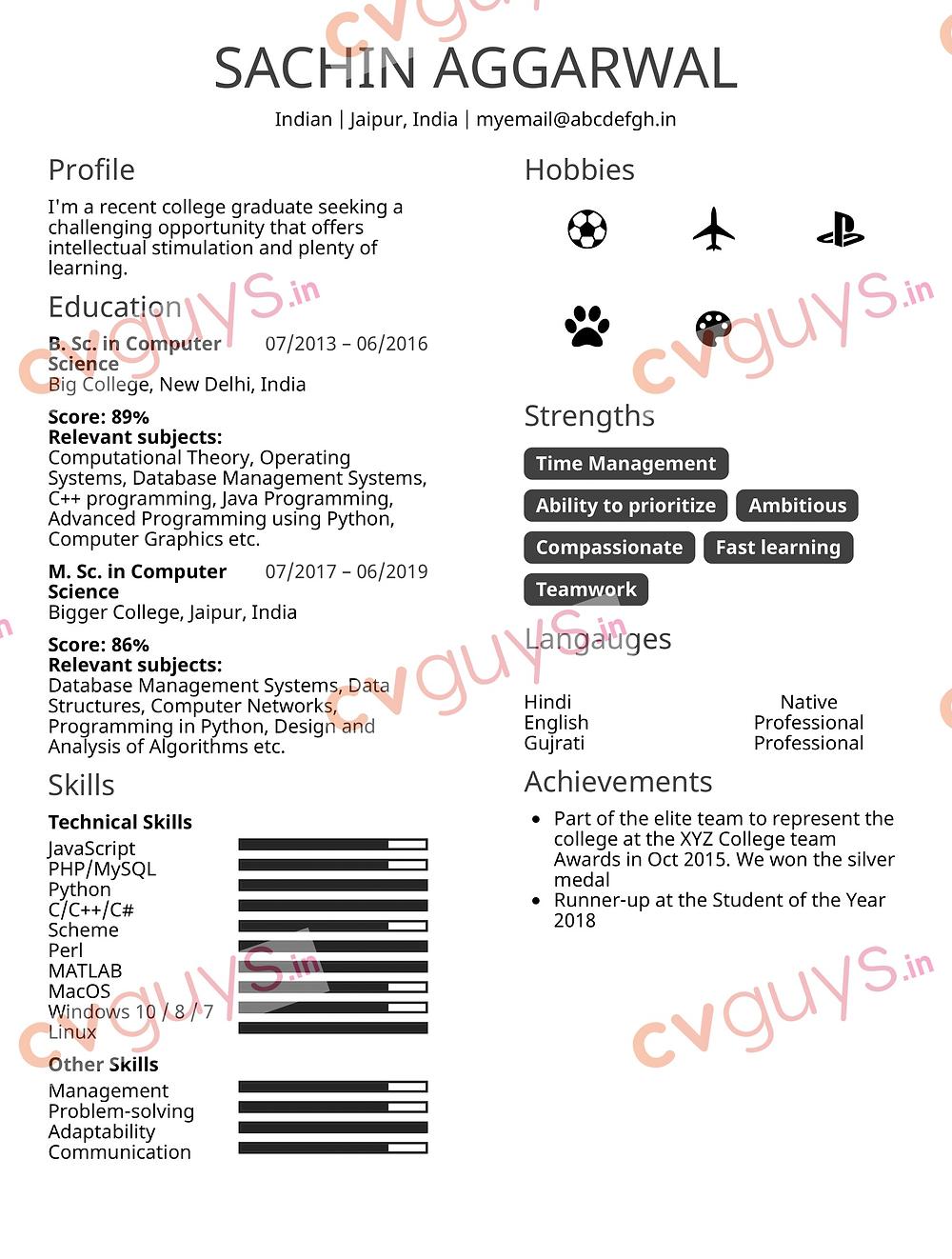 Computer Engineer Fresher Sample Resume