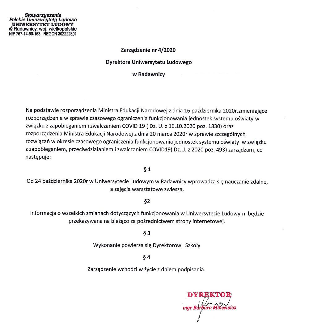 Zarządzenie nr 4 Dyrektora Uniwersytetu Ludowego w Radawnicy
