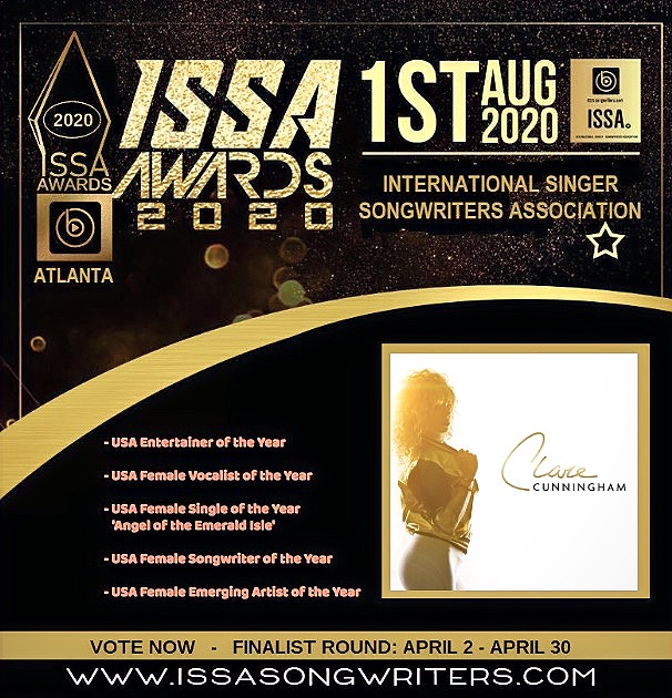 Clare Cunningham is nominated in 5 categories in the 2020 'ISSA' AWARDS