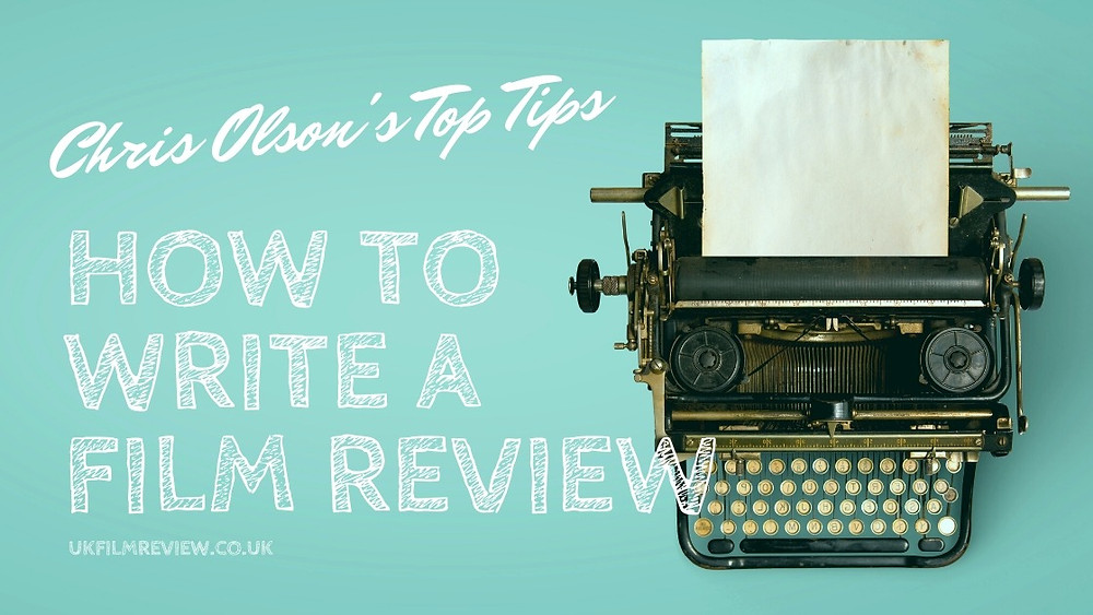 How to Write a Film Review title card showing an old typewriter on a blue/green background