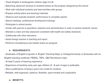 Clover Montessori tuyển dụng GV tiếng Anh