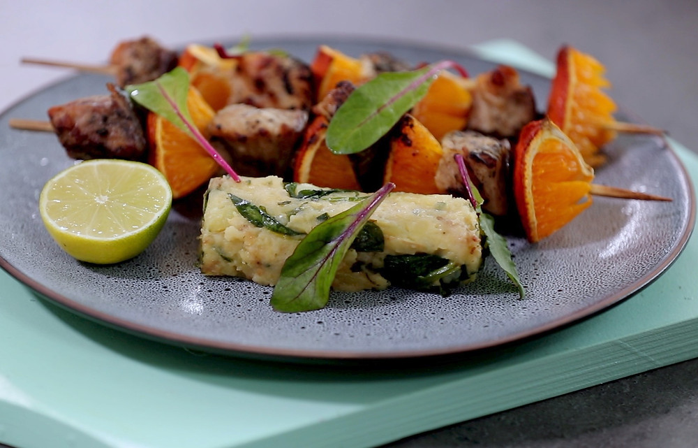 Šamo ir apelsinų iešmeliai, folijoje kepta bulvių košė, Alfo receptai