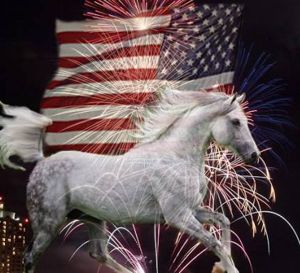 galloping white horse in front of US flag and fireworks