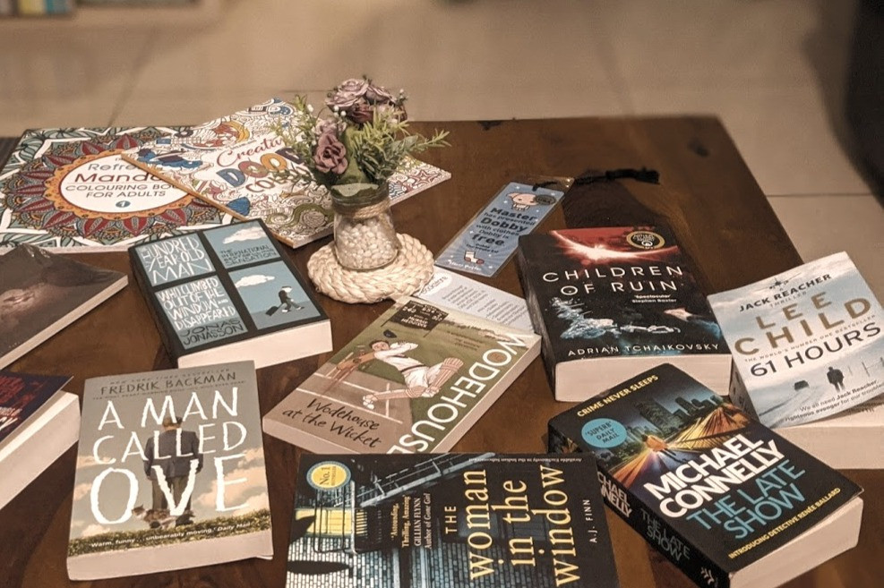 many books on a table