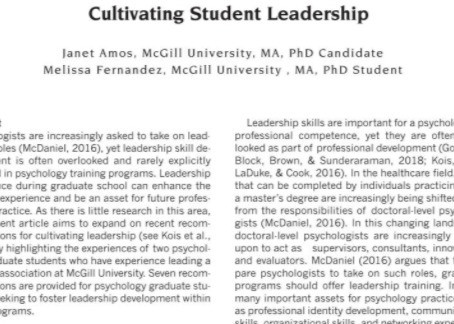 Janet Amos and Melissa Fernandez Publish Article on Cultivating Student Leadership