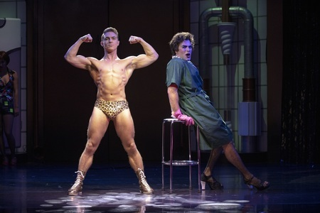 Callum Evans (Rocky) and Stephen Webb as Frank in The Rocky Horror Show