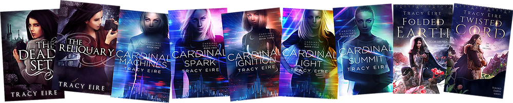 A collection of novels by Tracy Eire, showing heroines Six, Zoey, and Ora.