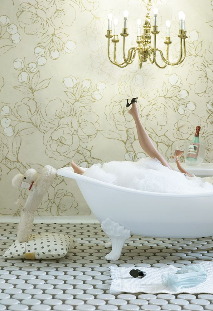 doll in bubble bath