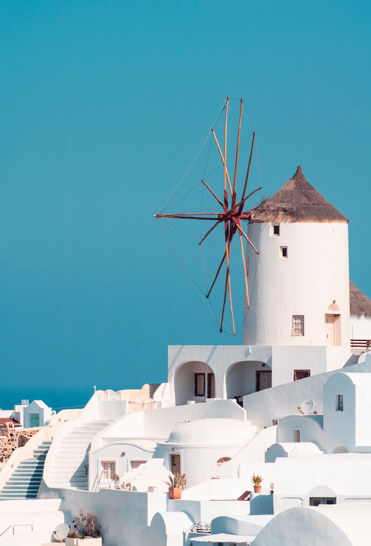 Windmill in Santorini island Greece
