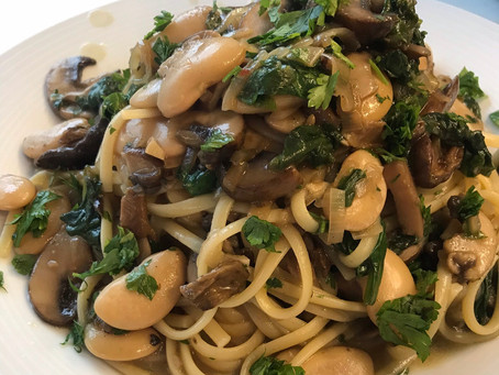 Un-Chicken Marsala (aka, butter beans and mushrooms in a marsala sauce)