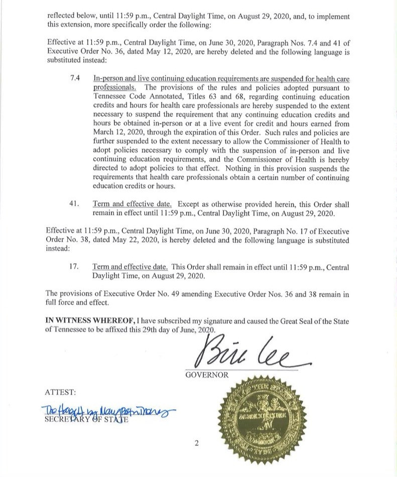 Gov. Bill Lee extends state of emergency to August 29