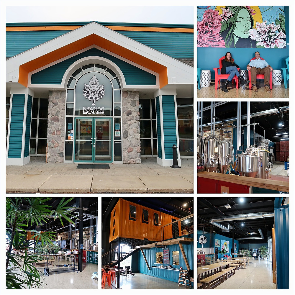Collage of images inside and outside of Broad Leaf Local Beer