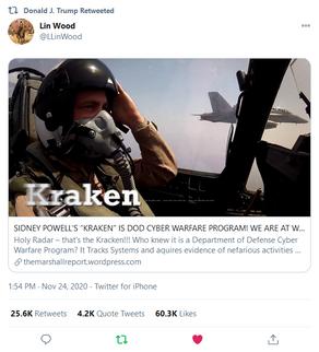 """DJT RT: """"KRAKEN"""" IS DOD CYBER WARFARE PROGRAM! WE ARE AT WAR!"""