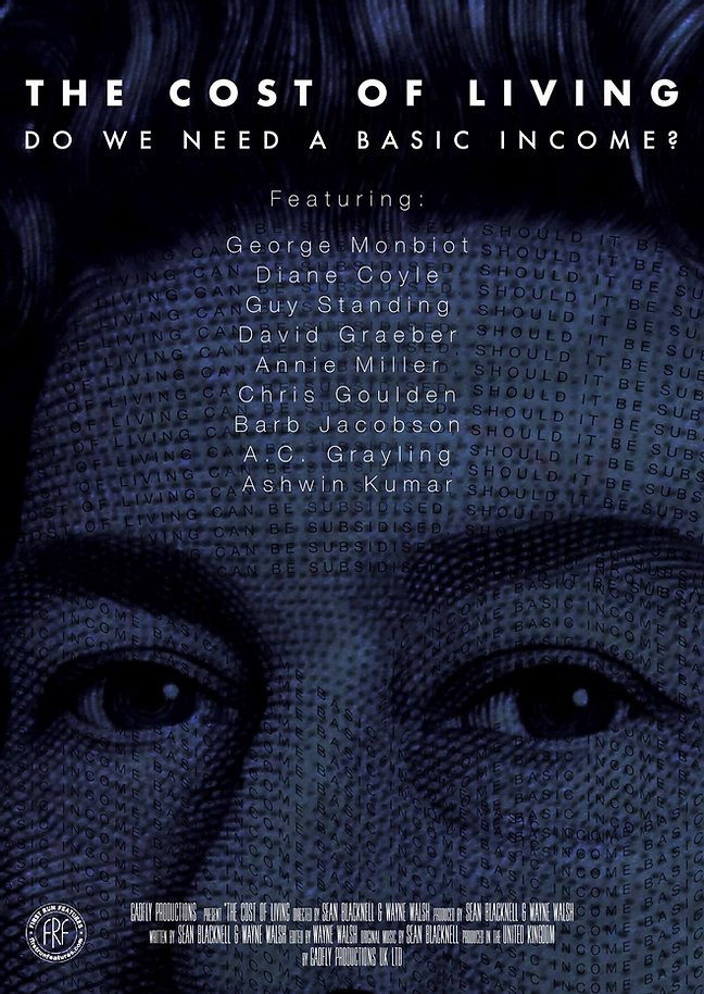 A photo of the Queen (from notes - money) has been zoomed in on; her forehead and eyes making the background of the film poster. The overall colour has been scaled to a deep blue shade. The title of the film is placed at the top of the image in quite simple, white text as the names of the featured individuals in the film are list below.