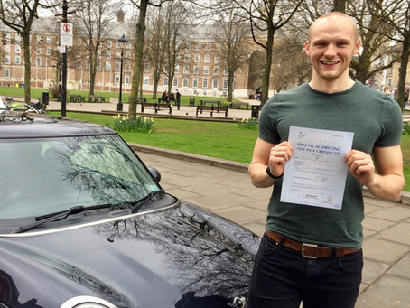 Well done Tom on passing your driving test First Time with only a few minor faults.
