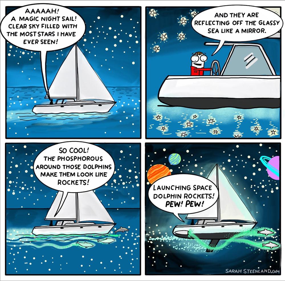Sailing through space, sailing at night, sailing comic, sailing cartoon, cruising comic, cruising cartoon, Sarah steenland, cruising cartoonist, cruising with kids, live aboard, cruising life, sailing illustration, sailing cartoonist,